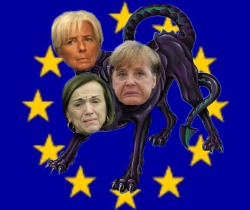 fornero verso esodati,merkel verso europa,legard verso grecia,sono la triade oscura psicopatologica,ben rappresentate dal mostro becero,incaricato di uccidere il passato,il presente ed il futuro. sono nate solo per fare del male.